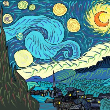 pintura de una noche estrellada